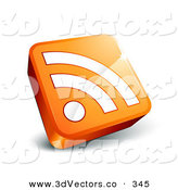 3d Vector Clipart of a White RSS Symbol on an Orange 3d Square on White by Beboy