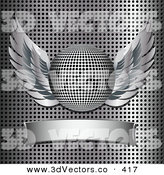 3d Vector Clipart of a Winged Chrome Disco Ball over a Blank Banner on a Truncated Grid Background by Elaineitalia