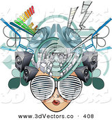 3d Vector Clipart of a Woman's Media Head with Visual Glasses, Speakers, Equalizers and Arrows by AtStockIllustration