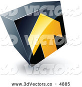 June 19th, 2013: 3d Vector Clipart of a Yellow Arrow Pointing up on a Tilted Black Cube by Beboy