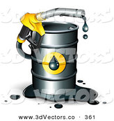 3d Vector Clipart of a Yellow Dripping Petrol Nozzle Emerging from a Barrel of Gas by Beboy