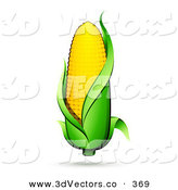 3d Vector Clipart of a Yellow Ear of Corn with a Green Husk and a Shadow by Beboy