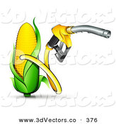 3d Vector Clipart of a Yellow Gas Nozzle Emerging from a Yellow Corn Biofuel Pump on White by Beboy