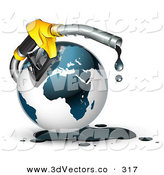 3d Vector Clipart of a Yellow Gasoline Nozzle Dripping Black Oil Around a Globe of Earth by Beboy