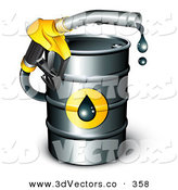 3d Vector Clipart of a Yellow Petrol Nozzle Emerging from a Black Barrel of Gasoline, Dripping Oil by Beboy
