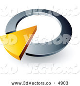 3d Vector Clipart of a Yellow Triangular Arrow in a Silver Circular Dial by Beboy