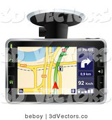 3d Vector Clipart of an Arrow Directing a Driver on the Screen of a Black GPS by Beboy