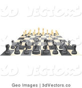 3d Vector Clipart of an Ebony and Ivory Chess Game Board by AtStockIllustration