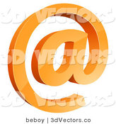 3d Vector Clipart of an Orange Arobase Email at Symbol by Beboy