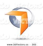 3d Vector Clipart of an Orange Boomerang or Arrow over a Silver Circle, with a Shadow by Beboy