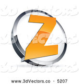 3d Vector Clipart of an Orange Letter Z in a Chrome and White Circle by Beboy