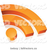 3d Vector Clipart of an Orange RSS Symbol by Beboy