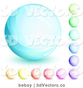 3d Vector Clipart of an Orb Set of Blue, Green, Purple, Red, Pink and Yellow Circles on White by Beboy