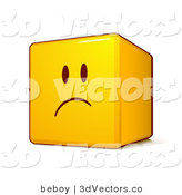 3d Vector Clipart of an Upset Yellow Smiley Face Emoticon Cube with Pouting and Frowning by Beboy