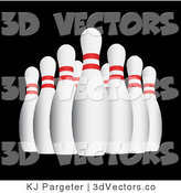 3d Vector Clipart of Bowling Pins on Black by KJ Pargeter