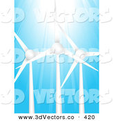 3d Vector Clipart of Bright Sunlight Shining down on Three Eco Energy Wind Turbines Against a Blue Sky by Elaineitalia