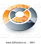 June 29th, 2013: 3d Vector Clipart of Chrome and Orange Alternating Target or Circles by Beboy