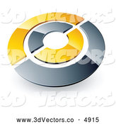 3d Vector Clipart of Chrome and Yellow Target or Circles on White by Beboy