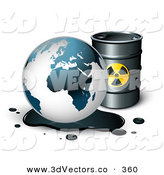 3d Vector Clipart of Earth's Oil Draining onto the Ground in Front of a Black Barrel of Gasoline by Beboy