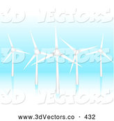 3d Vector Clipart of Five Green Energy Eco Friendly Wind Turbines Spinning and Generating Energy on a Blue Reflective Background by Elaineitalia