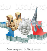 3d Vector Clipart of French Tourist Attractions on a Flag Map by AtStockIllustration