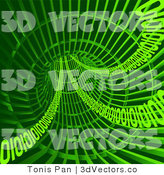 3d Vector Clipart of Green Binary Coding in a Tunnel by Tonis Pan