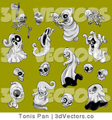 3d Vector Clipart of Halloween Ghosts by Tonis Pan