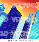 3d Vector Clipart of Highrise Buildings Towering Against a Sunset Sky in a City by Tonis Pan