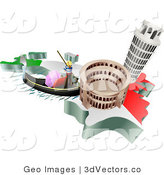 3d Vector Clipart of Italian Tourist Attractions of the Leaning Tower of Pisa, Roman Coliseum Flavian Amphitheatre and Venice Italy Gondola and Italian Flag by AtStockIllustration