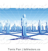 3d Vector Clipart of Many Blue People Standing on Circles Connected by Bars Between a Grid Floor and Ceiling by Tonis Pan