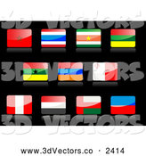 3d Vector Clipart of Shiny Flag Icons on Black by Vector Tradition SM