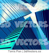 3d Vector Clipart of Tall Blue Skyscrapers in a City by Tonis Pan