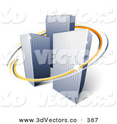 3d Vector Clipart of Tall Orange and Blue Circles Around Urban City Skyscrapers by Beboy