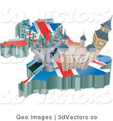 3d Vector Clipart of Tourist Attractions in the United Kingdom on a Flag Map by AtStockIllustration