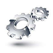 January 4th, 2013: 3d Vector Clipart of Two New Chrome Gears Spinning in Sync by Beboy