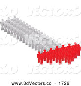 3d Vector Clipart of White and Red People Forming an Arrow by Andrei Marincas