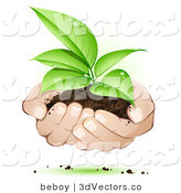 3d Vector Clipart of White Human Hands Supporting a Sprouting Green Plant in Dirt, Symbolizing Support by Beboy