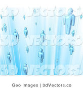 3d Vector of a Blue People in a Time Travel Tube by AtStockIllustration