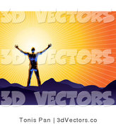 3d Vector of a Silhouetted Guy Holding His Arms out in Front of the Sun and Standing on Mountains in Worship by Tonis Pan
