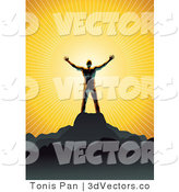 3d Vector of a Silhouetted Guy Standing on Top of a Mountain and Worshiping the Sun by Tonis Pan