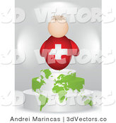3d Vector of a Swiss Flag Man on an Atlas Podium by Andrei Marincas