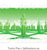 3d Vector of Green Networked People Standing on Connected Circles by Tonis Pan