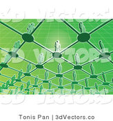 3d Vector of Green People Standing on a Network Grid by Tonis Pan