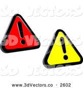Bridal Clipart of Red and Yellow Warning Signs by Vector Tradition SM