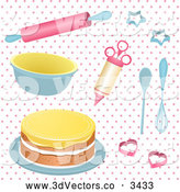Vector Clipart of 3d Baking Tools and a Cake on Pink Polka Dots by Elaineitalia