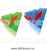 Vector Clipart of 3d Bar Graphs and Arrows by Vector Tradition SM