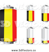 Vector Clipart of 3d Belgian Flag Batteries by Andrei Marincas