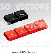 Vector Clipart of 3d Black and Red Yes, No and Help Computer Buttons by Arena Creative