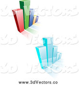 May 20th, 2014: Vector Clipart of 3d Blue and Colorful Bar Graphs and Shadows by Vector Tradition SM