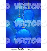 Vector Clipart of 3d Blue Christmas Ornaments Suspended with Shining Light and Flares by Elaineitalia